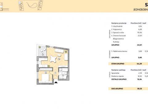 NOVOGRADNJA, STAN 46,18m2