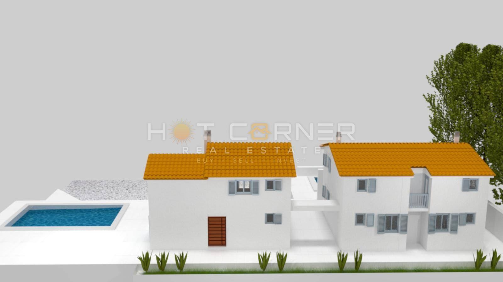 Medulin, Ližnjan - NOVE kuće od 100m2 svaka, VRT, BAZEN, POGLED MORE
