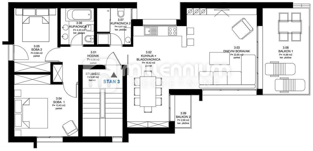 Appartamento Novi Vinodolski, 73,72m2