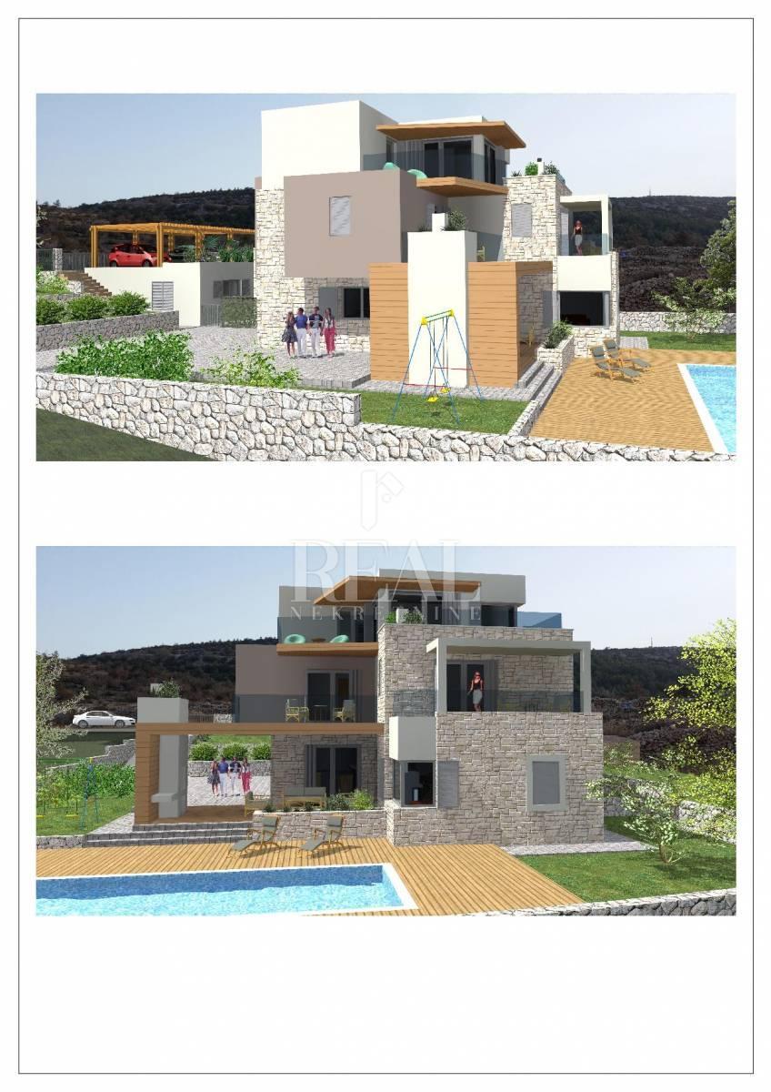 Prodaja građevinskog terena s građevinskom dozvolom i projektom - prvi red do mora 987m2