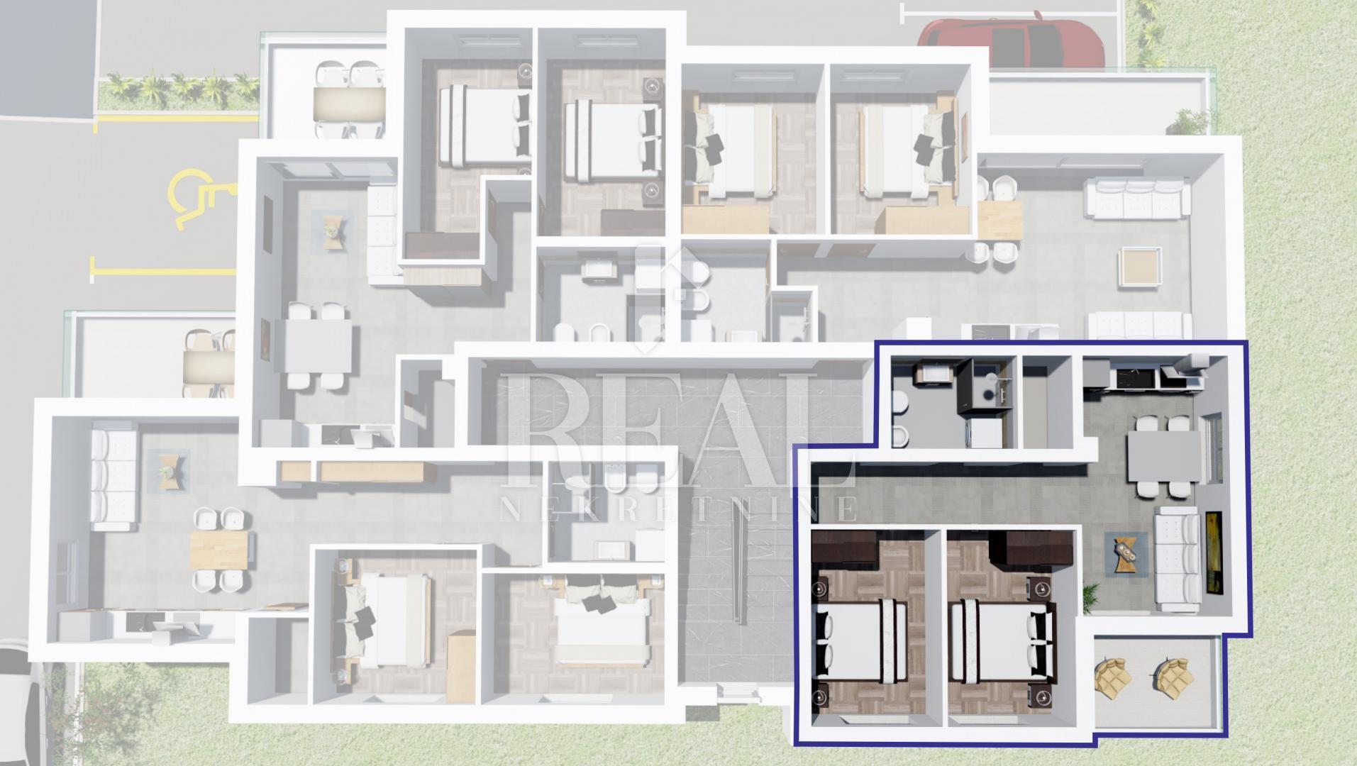 Novogradnja Peroj,apartman  47,86m2,balkon
