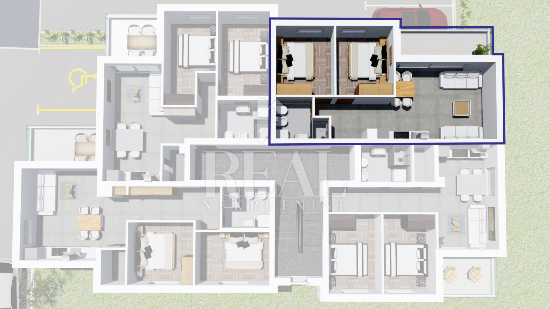 Novogradnja Peroj,apartman  47,86 m2,balkon