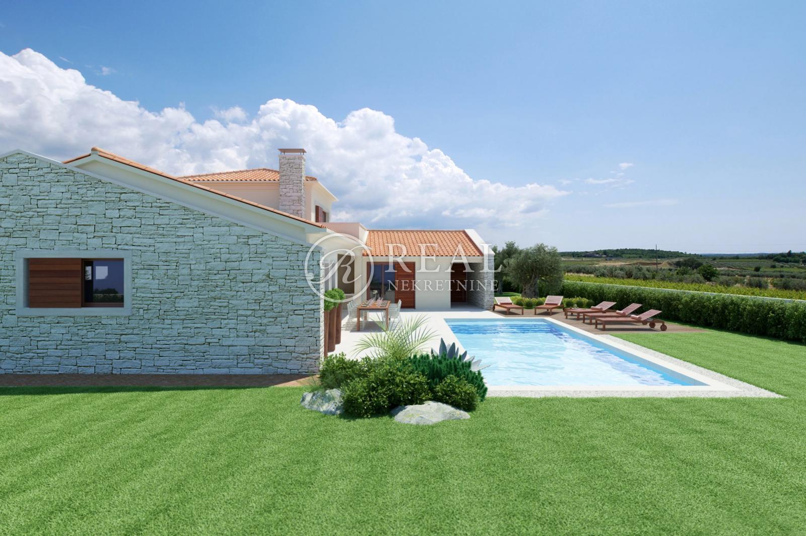 Novoizgrađena Villa sa bazenom 198 m2,pogled na more