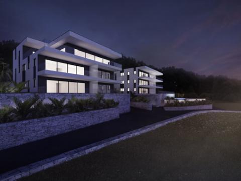 Novogradnja Opatija 135 m2,3S+DB,balkon,garaža,bazen