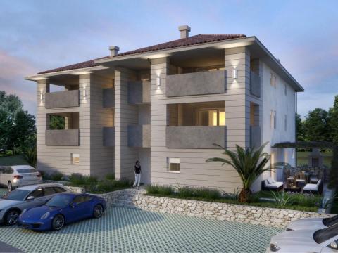 Cres novogradnja,stan 70 m2,1S+DB,terasa,500 m od mora