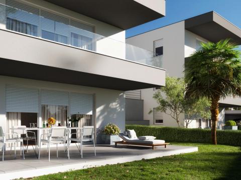 Krk, luksuzana novogradnja, 2S+DB od 94 m2 sa dvorištem od 208 m2
