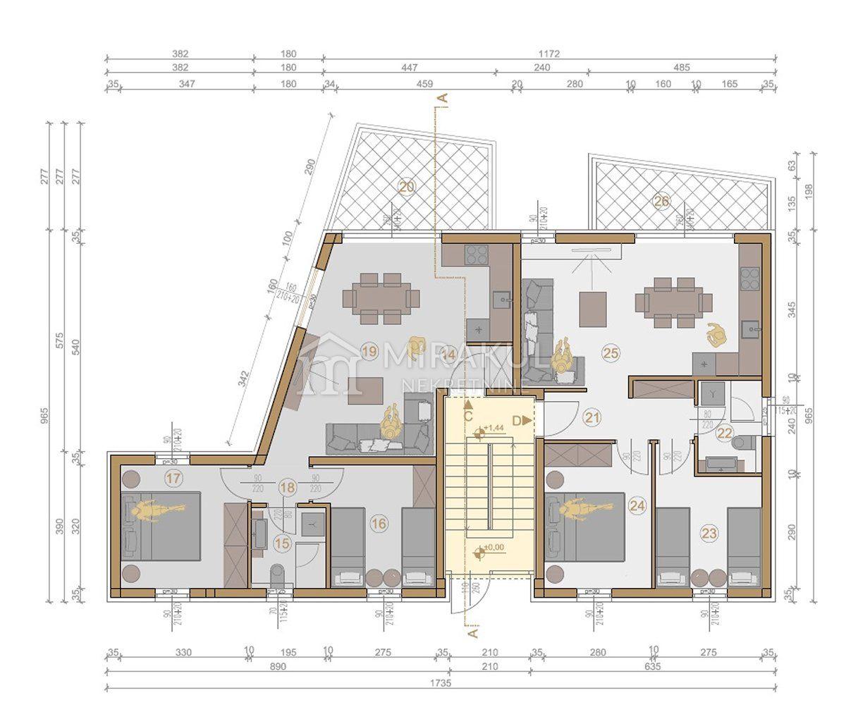 Murter, Novi projekt, apartmansko naselje Ruža vjetrova - Bura