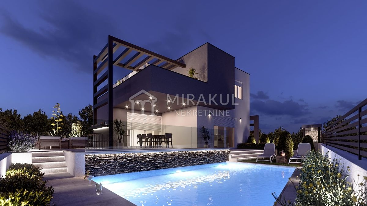 Real estate Brodarica, Luxury Villa of modern design with pool and whrilpool