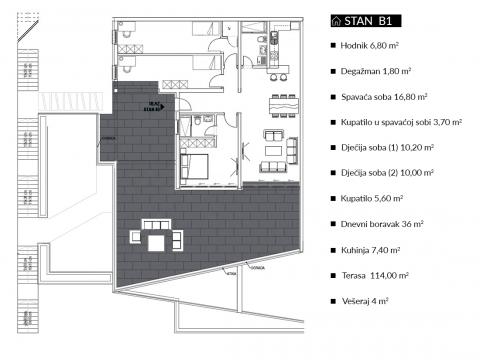 Novogradnja Villa Terrazza stan B1 četverosoban