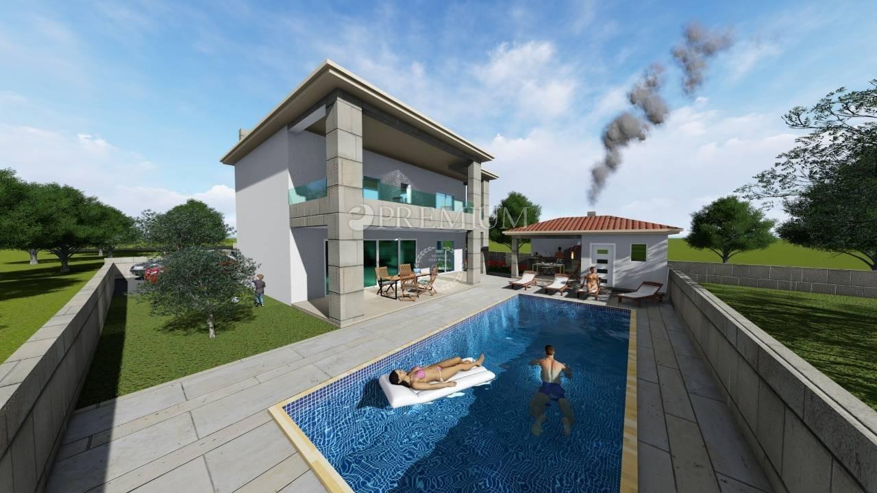Vrbnik, okolica, prodaja nove samostojeće vile s bazenom i pogledom na more!