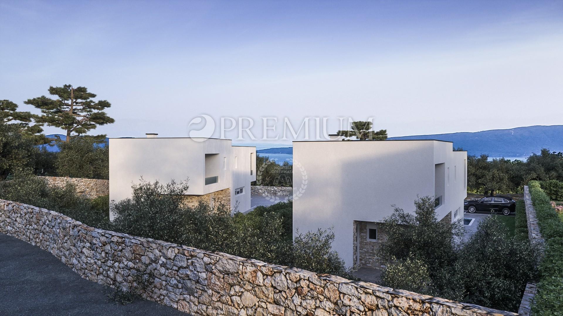 Krk, environs, villa à vendre avec piscine et belle vue mer!