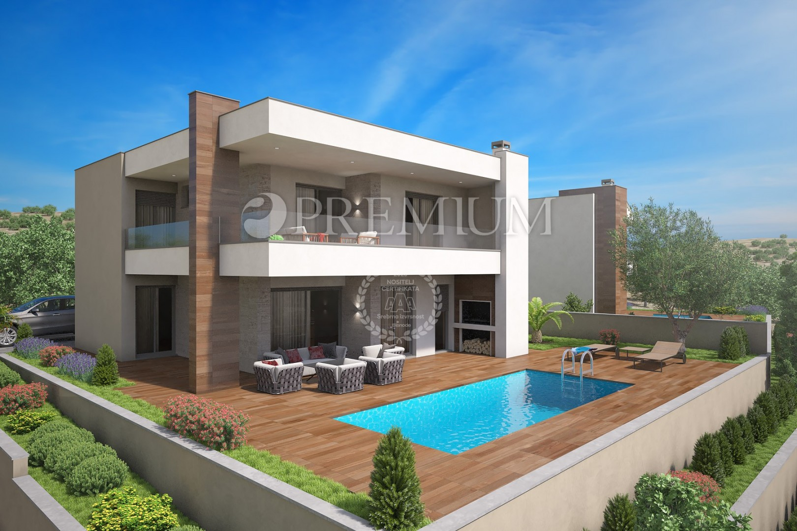 Façades Des Villas Modernes krk, sale, detached house with swimming pool and spacious