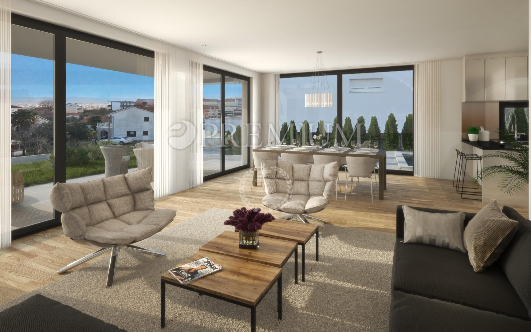 Malinska, prodaja, dvoetažni apartman 200 m od mora s bazenom, novogradnja!