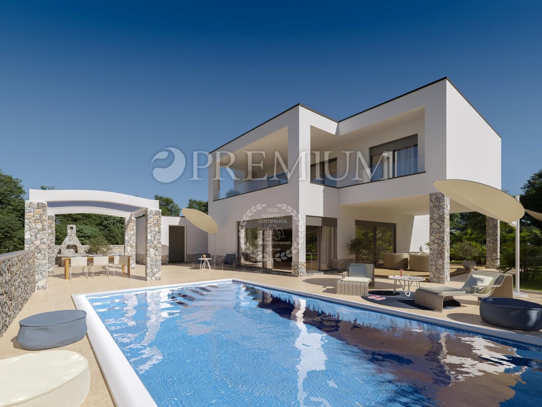 Malinska, okolica, prodaja nove vile s bazenom, okućnicom i pogledom na more!