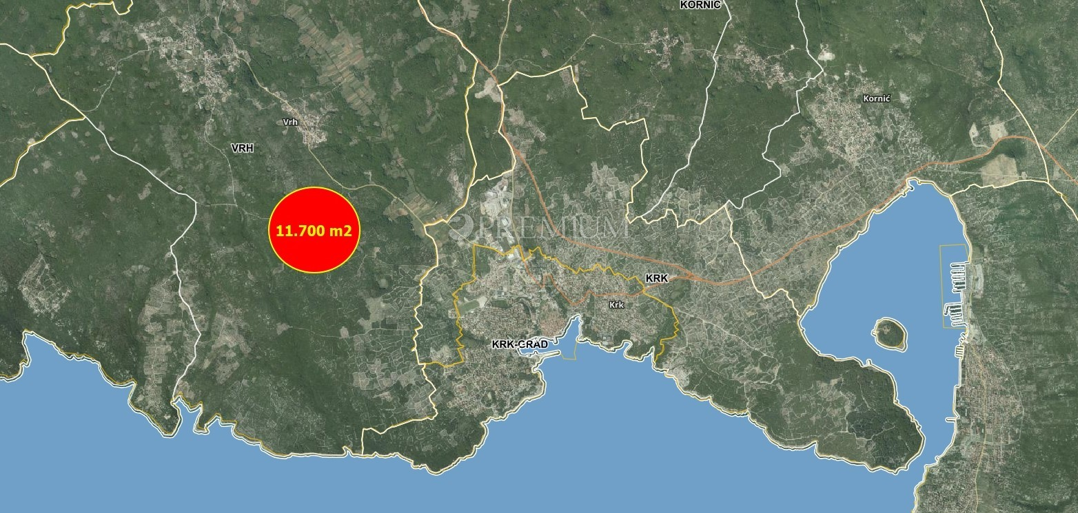 Krk, okolica, prodamo, gozd na površini 11.747 m2!