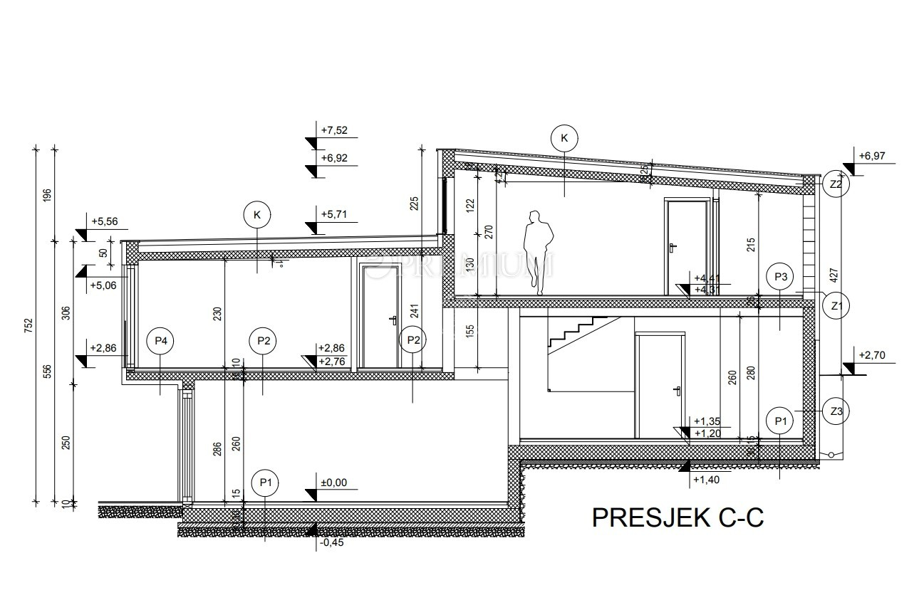 Malinska, surroundings, luxurious new building of 271 m2 on a plot of 600 m2 with pool and sea view!