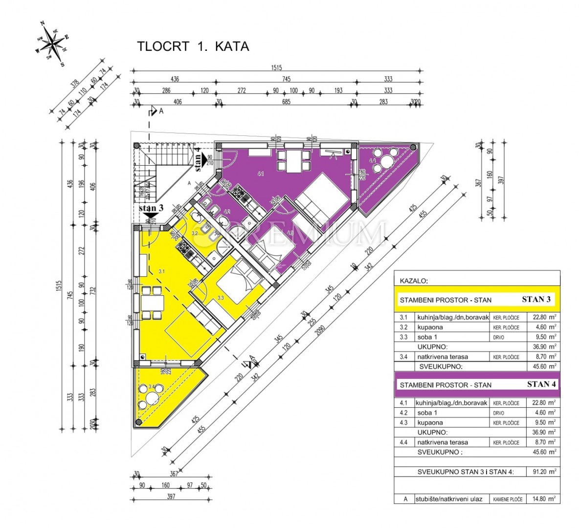 Šilo, prodaja apartmana od 46 m2 na prvom katu novoizgrađene zgrade, 250 m od mora! Zajednički bazen na korištenje! U izgradnji!