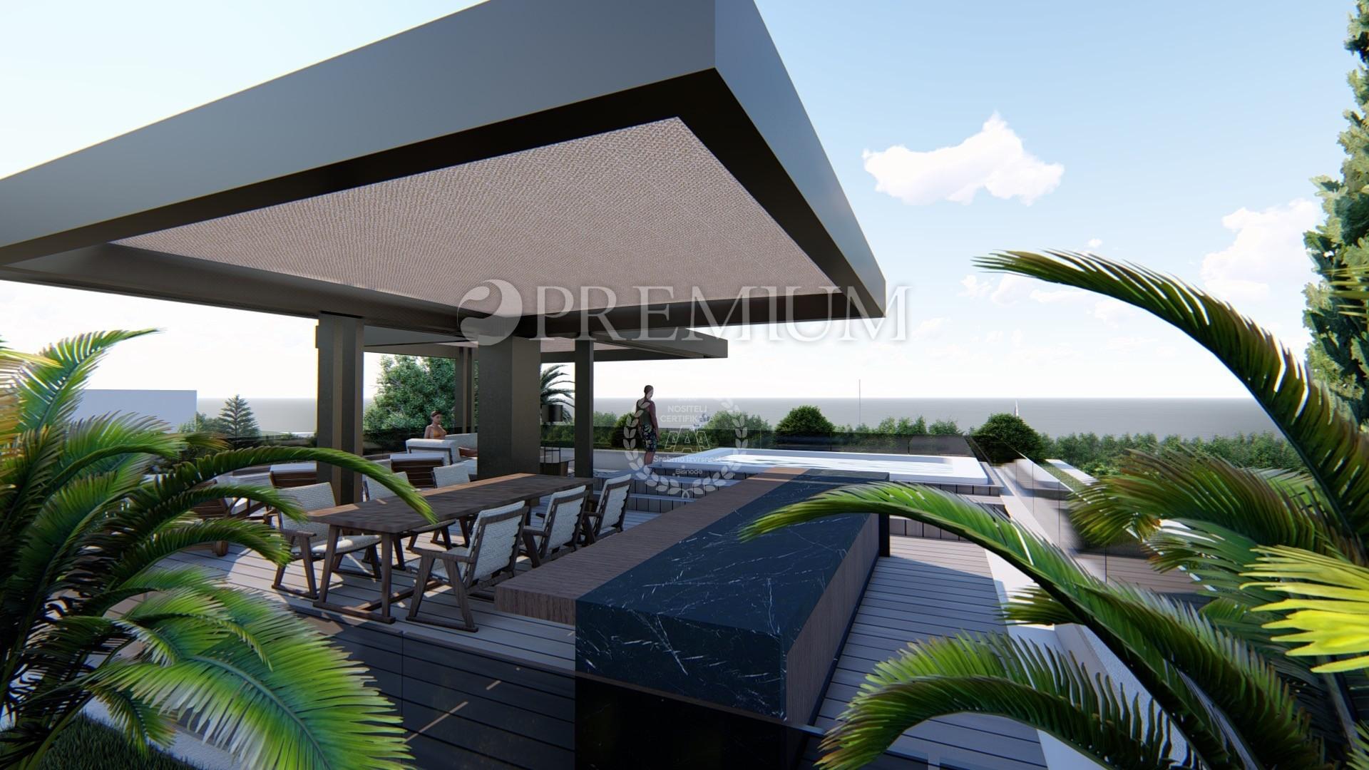 Njivice, prodaje se ekskluzivan apartman od 130m2 na 2. katu modernog stambenog objekta samo 50m od mora! U izgradnji!