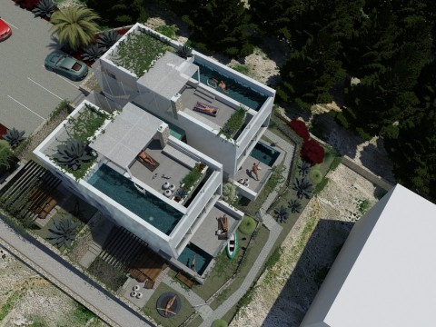 Njivice, Verkauf, moderne zweistöckige Wohnung von 107 m2. Pool! Meerblick! Hof!