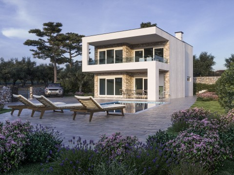 Krk, surroundings, villa for sale with swimming pool and beautiful sea view!