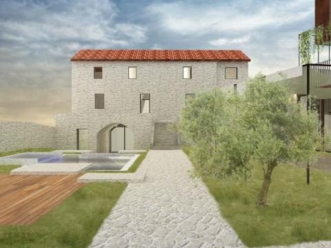 Okolica Dobrinja, prodaja, adaptirana autohtona kamena kuća sa bazenom! Prodaja po sistemu kjuč u ruke!