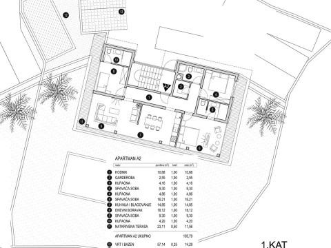 Krk, prodaja modernog apartmana od 106 m2 na prvom katu luksuzne ville !!