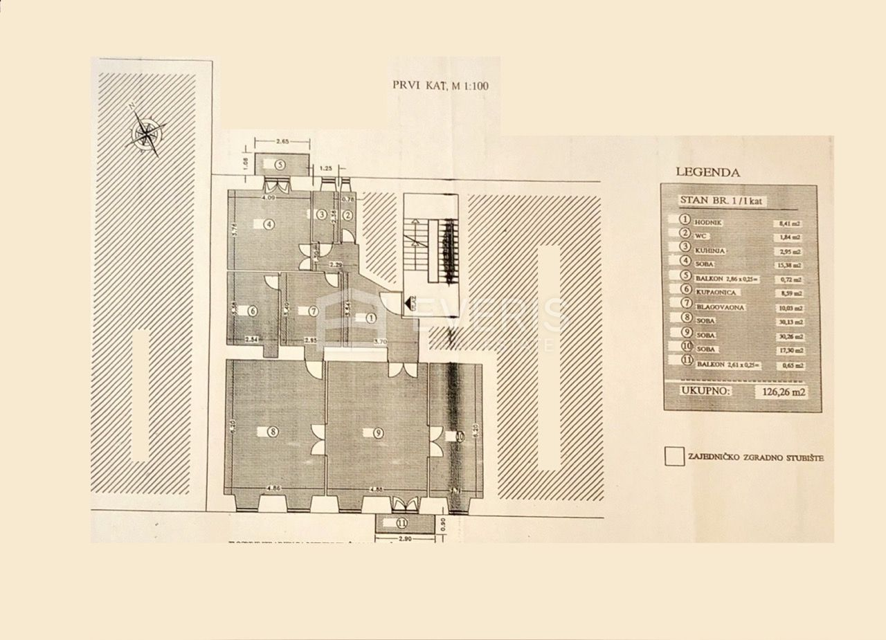 Rijeka, Korzo, prvi kat, balkon, 126 m2