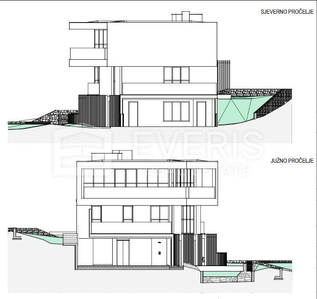 Ičići, građevinsko zemljište 2187 m2 s dozvolom za gradnju vile