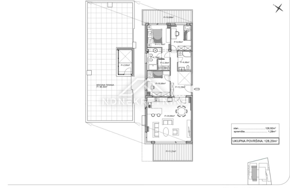 Zadar, Borik, apartman 151m2