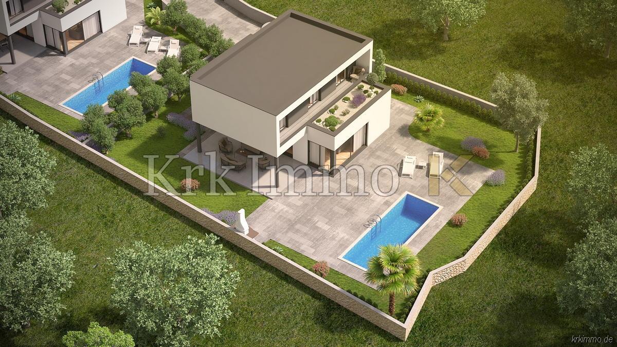 Nove kuće s pogledom na more. Bazen.