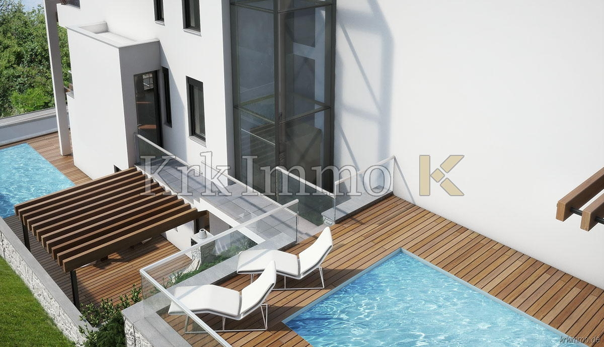 Novi moderni apartman sa bazenom. Pogled na more.