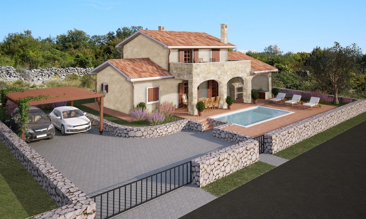 Primorski šarm nove kamene kuće s bazenom