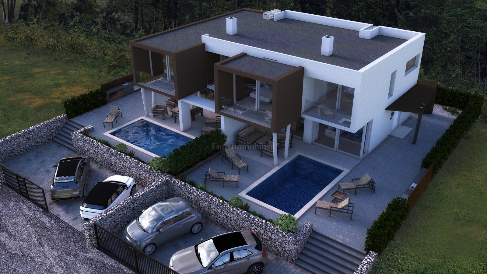 Moderne Doppelhaushälfte Mit Pool, Garten Und Drei Parkplätzen