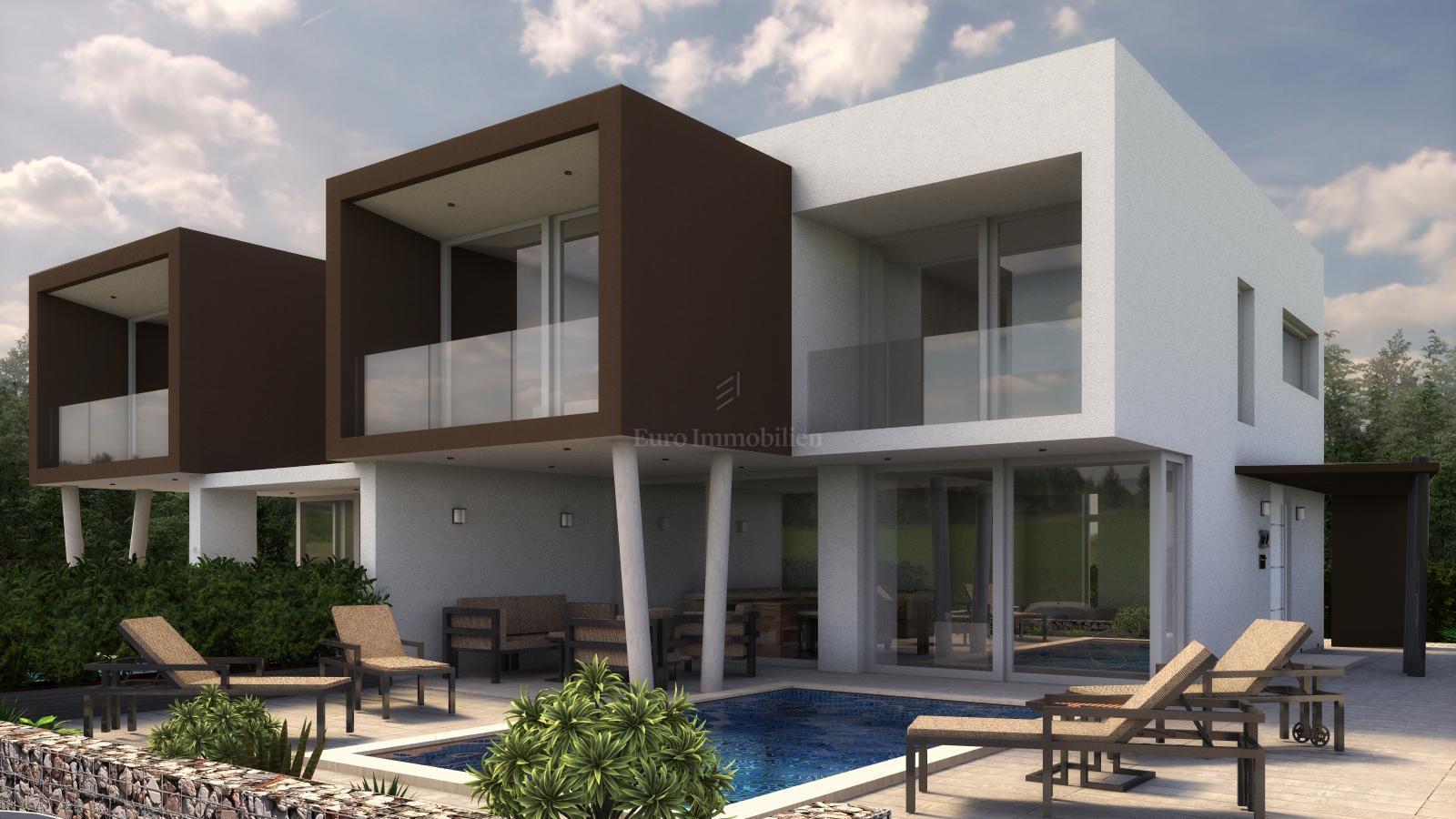 Villa Duplex Design modern duplex villa with swimming pool, garden and three parking