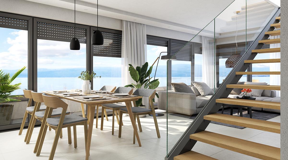 Moderne Wohnung mit einer Dachterrasse 150 m vom Meer, Apartment