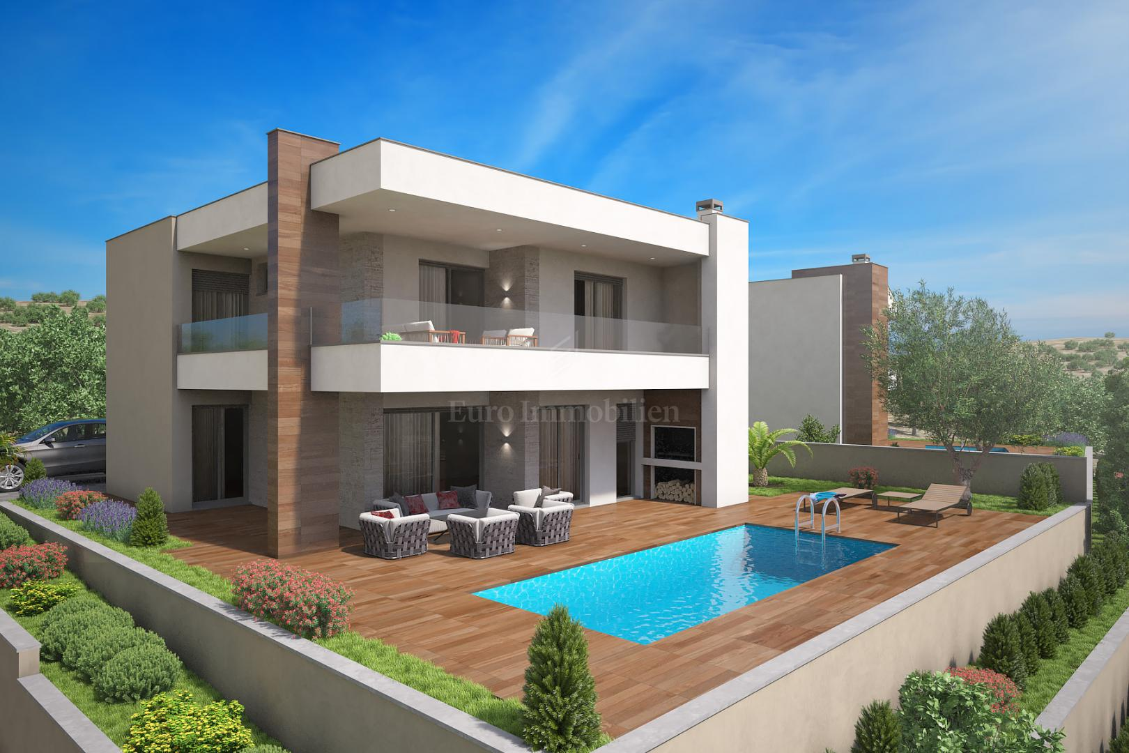 Modern villa with pool and a sea view