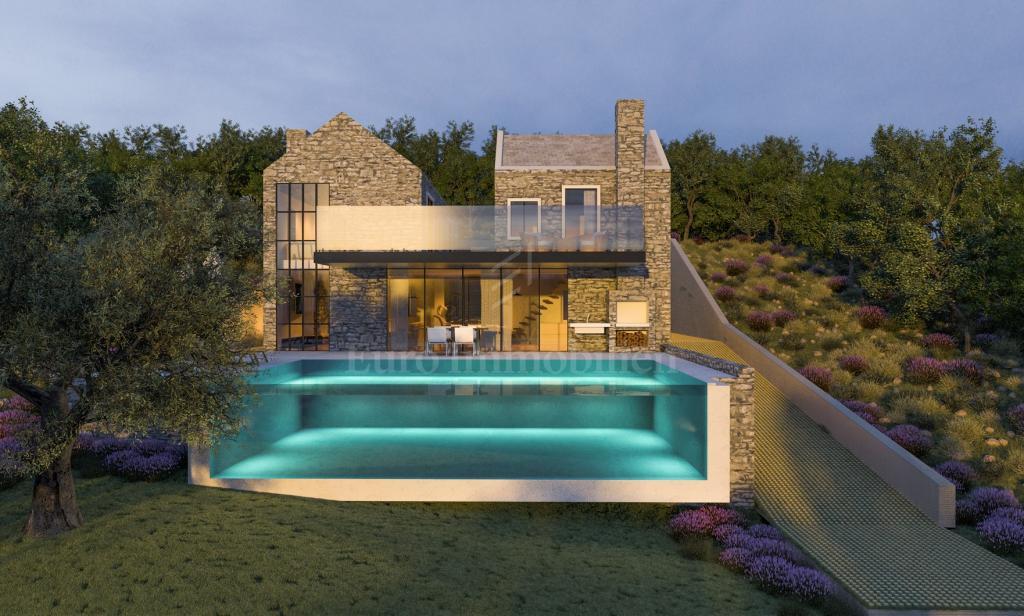 Terreno vista sul mare aperto e un design di una villa in pietra