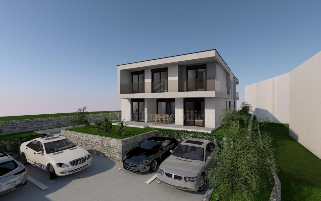 New building, modern house with swimming pool