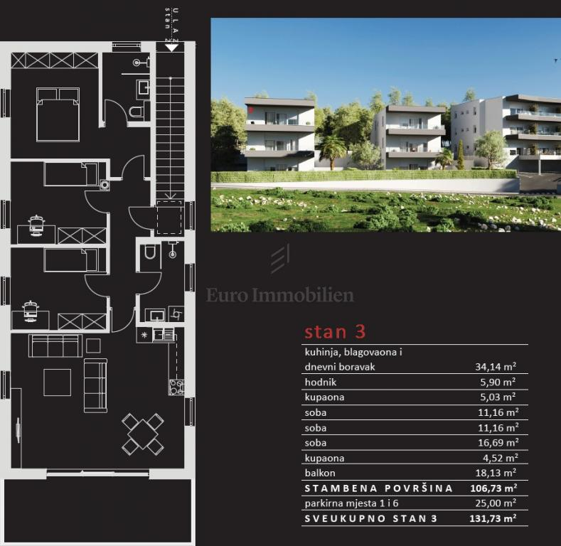 Neubau, Wohnung im ersten Stock mit Meerblick
