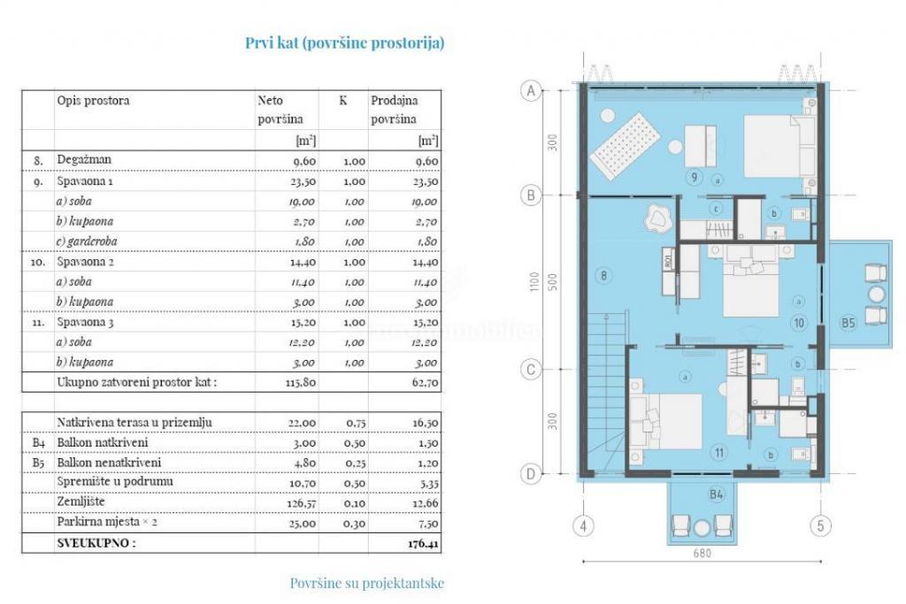 Luksuzni dvoetažni apartman 250m od mora!Prodaja stanova Malinska,otok Krk!