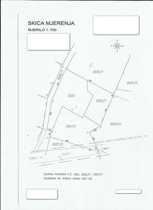 Građevinsko zemljište 3267 m2 u okolici Poreča!