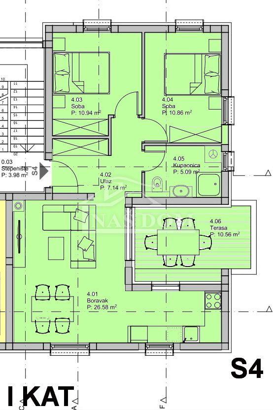 Vodice- NOVOGRADNJA-dvosobni stan S4-71,65 m2 , I kat