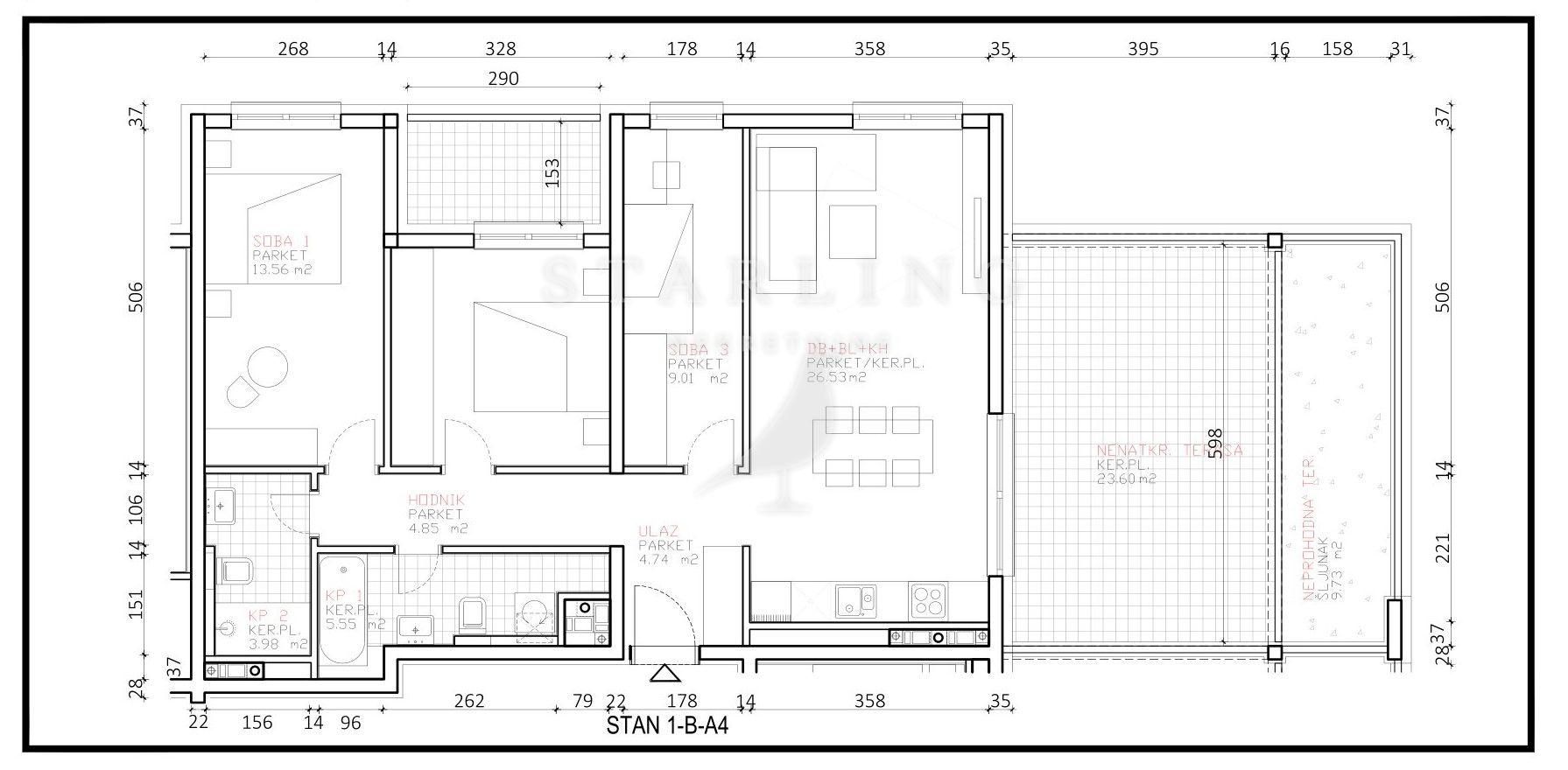 STAN, NOVOGRADNJA, PRODAJA, ZAGREB, ŠPANSKO, 88 m2, 4-soban