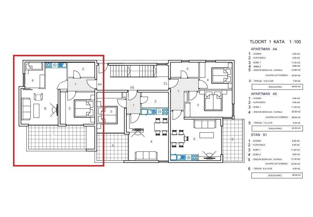 PAG, NOVALJA-novogradnja, apartman, 56,5 m2!