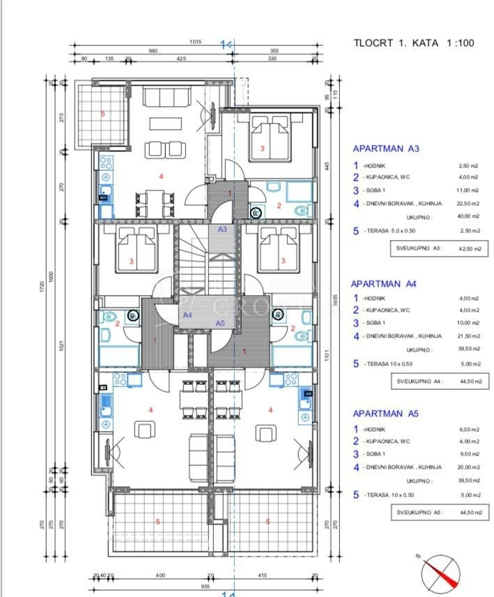 Novalja, apartman A5-44,50m2 sa pogledom na more