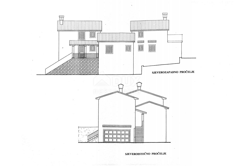 MATULJI - MIHELIĆI - KUĆELI - građevinsko zemljište površine 1428m2 sa građ. dozvolom za obiteljsku kuću / stambenu zgradu od 390m2