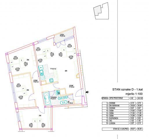 TREŠNJEVKA KOD DOMA SPORTOVA - 4-SOB, 92 m2, NOVOUREĐEN