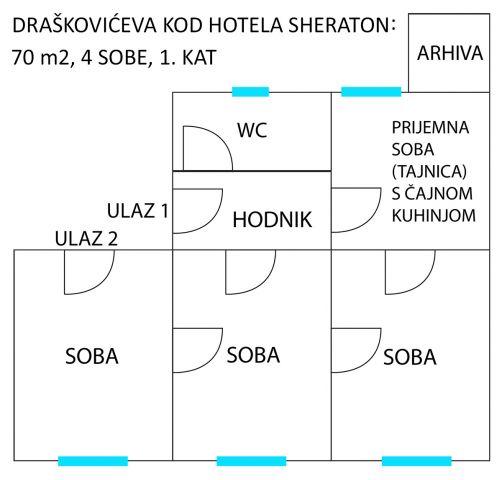 DRAŠKOVIĆEVA - SHERATON: 70 M2, 4 SOBE, 1. KAT