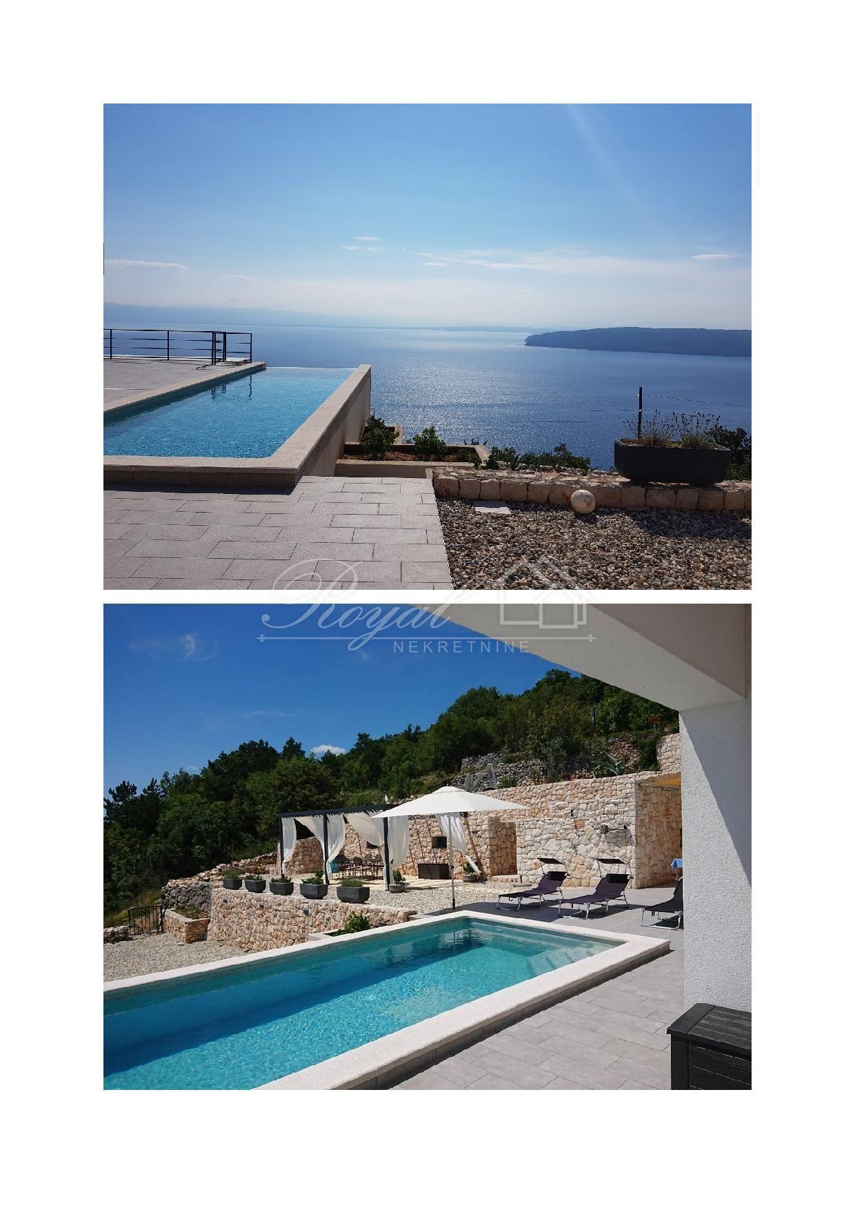Villa sa bazenom iznad Mošćenica sa panoramskim pogledom