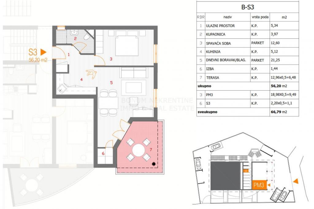 Primošten, novogradnja, enosobno stanovanje v prvem nadstropju